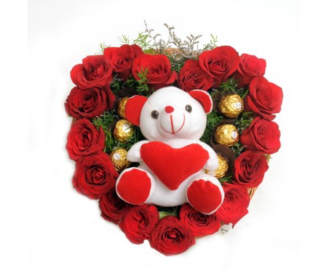 Love Shape Rose Arrangement Teddy and Ferrero