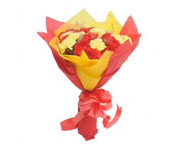 Yellow N Red Carnations