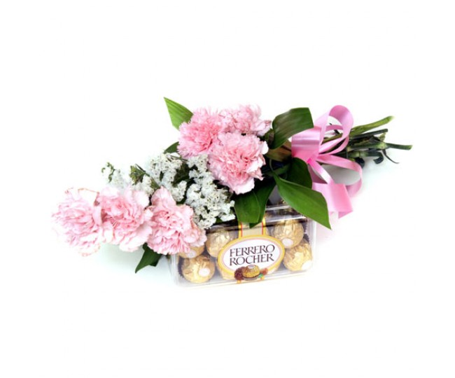 Cute Hamper - Baby Pink Carnations with Ferrero Chocolates