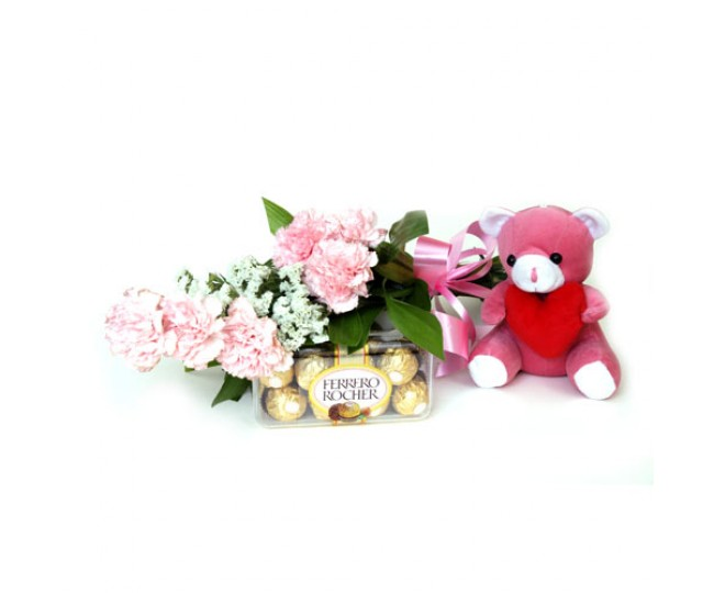 Great Gift - Baby Pink Carnations, Teddy and Ferrero Rocher