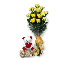 Yellow Long Stem Roses and cake home delivert pondur