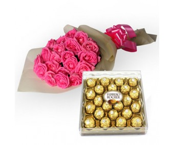 My Fondest Affection - Pink Roses with Ferrero Chocolate