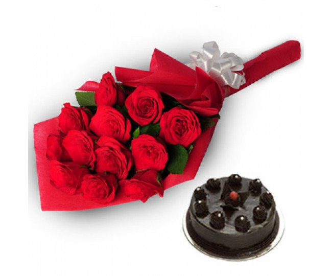 Red Rose and chocolate truffle cake