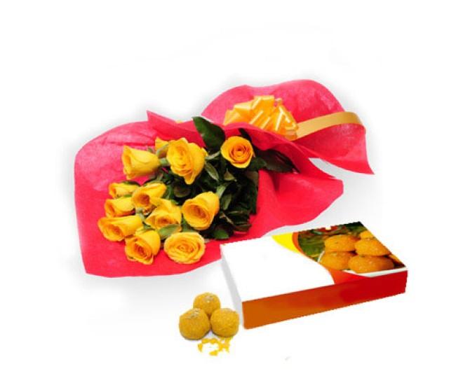 Yellow Roses N Motichur Laddu