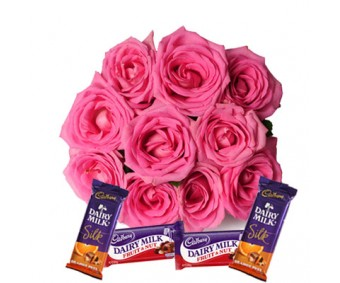 Blushing Roses - Pink Roses with Dairy milk Chocolates