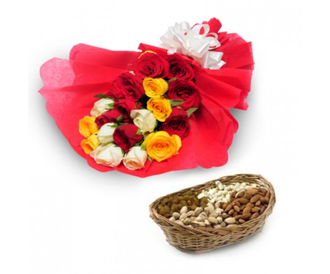 My Best Wishes - Roses combo with Half kg dry fruit mix