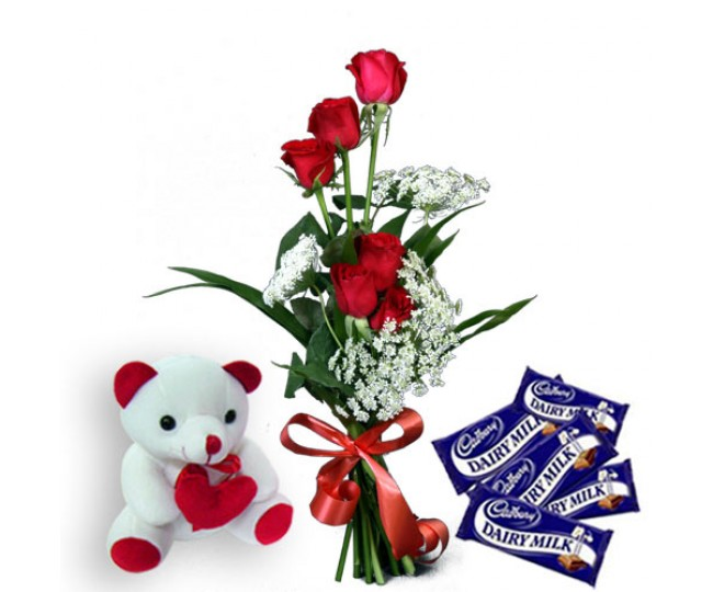 Divine Love - Red Roses With Teddy