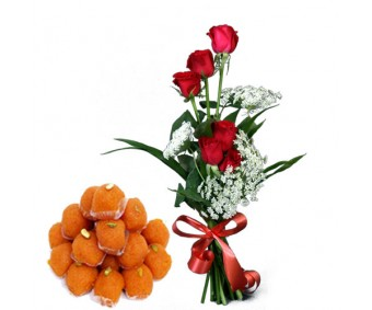 Precious Love - Red Roses with Half Kg Ladoo