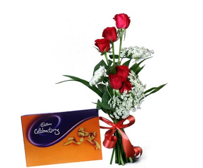 Red Roses Sensation and Cadbury celebration Chocolate box