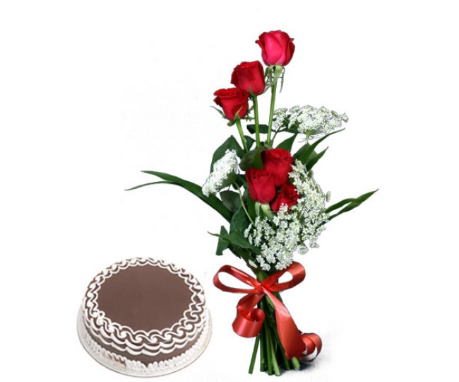 Will You Be Mine - Red Roses and Half kg chocolate ckae