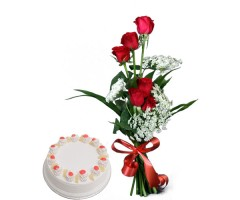 6 Red Roses with Pineapple Cake 500gm in bomdila