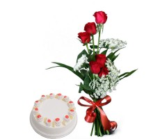 6 Red Roses with Pineapple Cake 500gm in adra