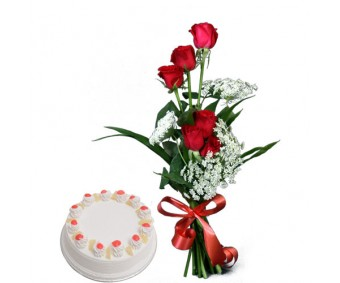 Delightful Divine - Red Roses with half Kg pineapple cake