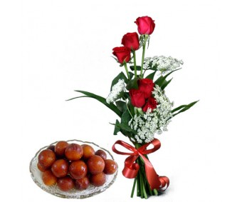 Pretty Choice - Red Roses with 1 Kg Gulab jamun