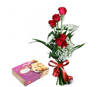 Blooming Love - Red Roses with Soan Papdi Half kg