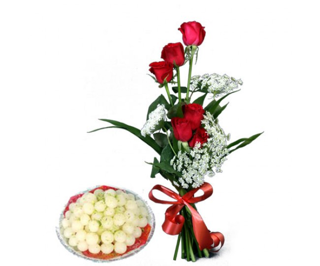 Lucky N Love - Red Roses with Rasagulla
