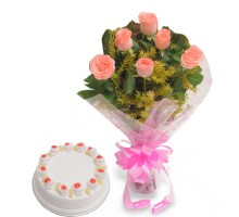 Elegant Wishes - Pink Roses with Half kg Pineapple cake