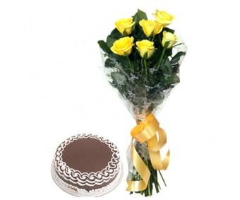 Starburst - Yellow Roses with Half kg Chocolate cake