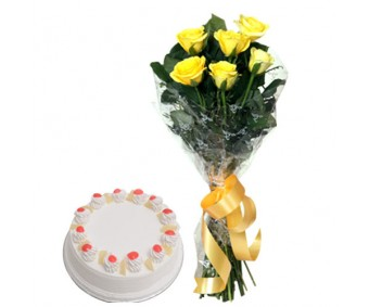Spectacular - Yellow Roses with Half kg Pineapple cake