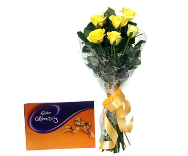Yellow Roses N Cadbury Celebrations Pack