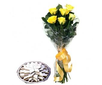 Yellow Roses N Kaju Katli half kg