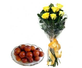 Yellow Roses Bouquet N Gulab Jamun 1 kg