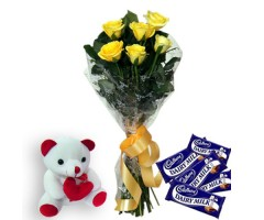 Yellow Roses N Dairy milk Chocolates