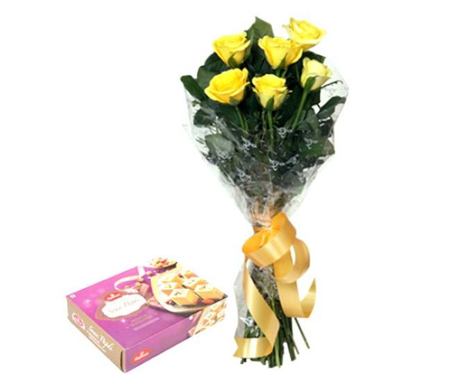 Yellow Roses N Soan Papdi