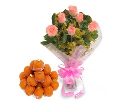 6 Pink Roses with Ladoo 500gm in kalyandurg