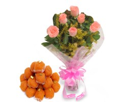 6 Pink Roses with Ladoo 500gm in pondur