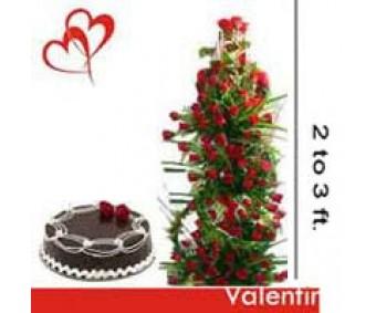 100 Roses Tower n Chocolate Cake