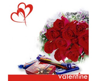 Love is in the air - Red Roses with Chocolates