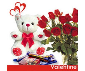 Cuddly Affair - Red Roses, Teddy and Chocolates