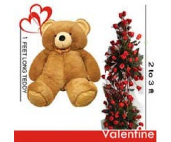 Life Size love - Teddy bear with 100 Red Roses bouquet