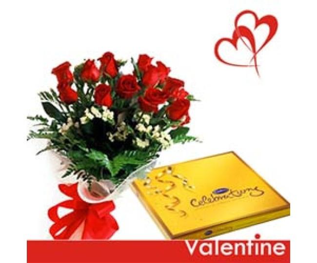 Blazing Light - Red Roses with Cadbury celebration box