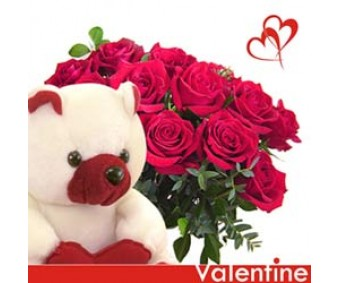 Unique Love - Red Roses Bouquet with Teddy bear