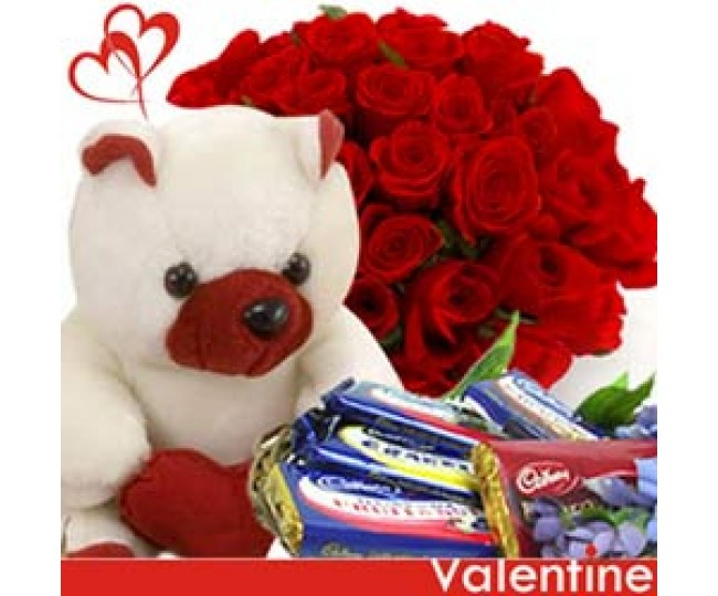 Sweet Hello - Red Roses bunch, Teddy and Chocolates