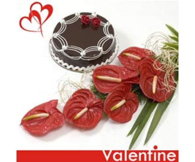 Starry Kisses - Red Anthurium and Half kg chocolate cake