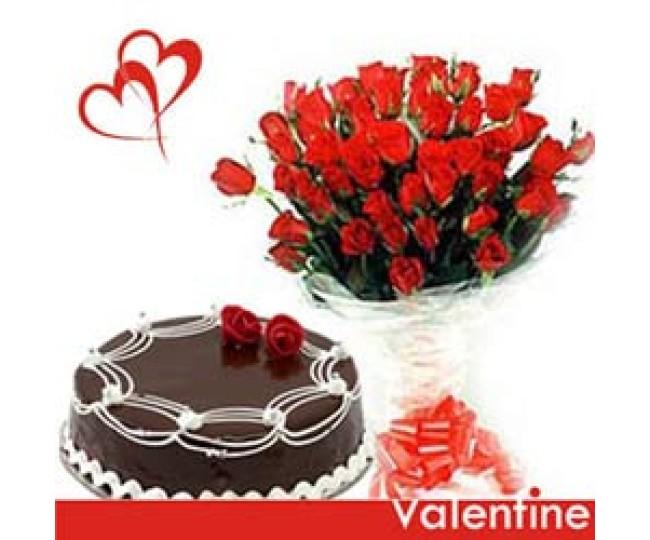 Mermaid Magic - Red Roses with Half kg chocolate cake