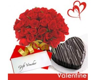 Little Treasure - Red Roses bunch and 1 Kg Hear shape chocolate cake