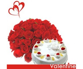 Soulful - Half kg Pineapple cake and Red Roses