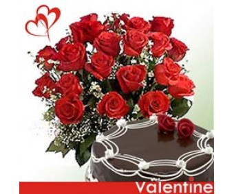 Sweet Everythings - Red Roses with half kg Chocolate cake