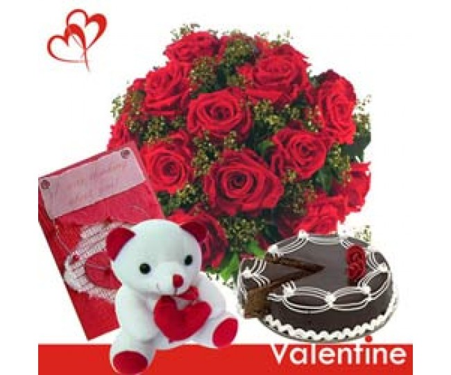 Only You - Red Roses, Teddy and Half kg Chocolate cake