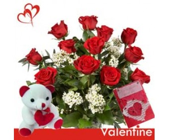 Love Sparks - Red Roses and Cute Teddy