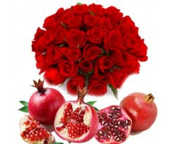 Fresh and Fruity - Red Roses with Red Pomegranate