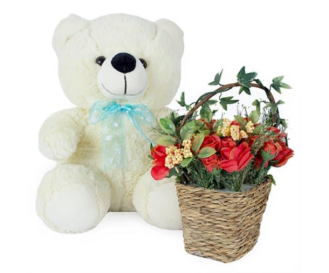 Red Rose Arrangement With Teddy