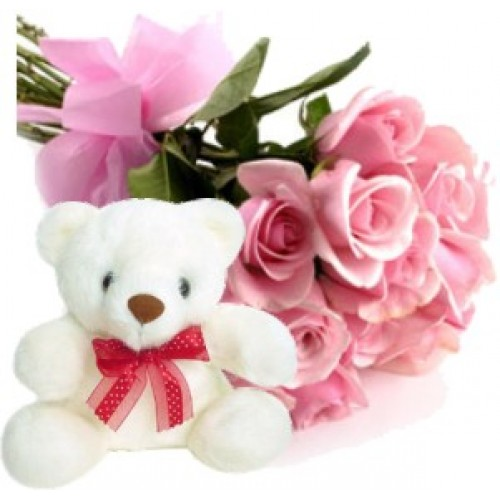 Pink Roses With Teddy Bear Pink Roses With Teddy Bear